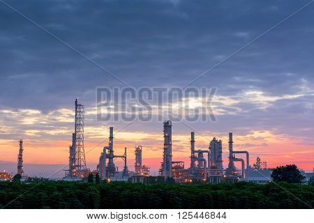 Twilight of oil refinery plant Morning scene.