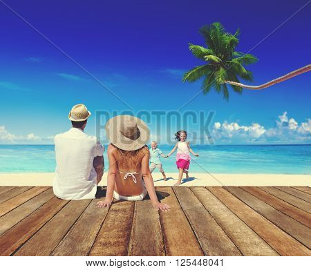 Family Relaxation Summer Beach Travel Concept