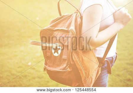 Woman Travel Bag packer Weekend Relax Concept