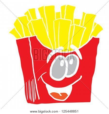 happy french fries cartoon