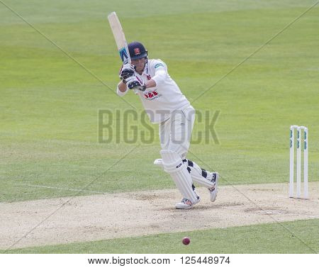CHELMSFORD, ENGLAND - APRIL 11 2016: Tom Westley of Essex during the Specsavers County Championship match between Essex and Gloucestershire at the County Ground in Chelmsford, England.