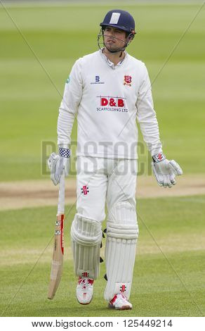 CHELMSFORD, ENGLAND - APRIL 11: Alastair Cook of Essex Walks off after being dismissed during the Specsavers County Championship match between Essex and Gloucestershire at the County Ground
