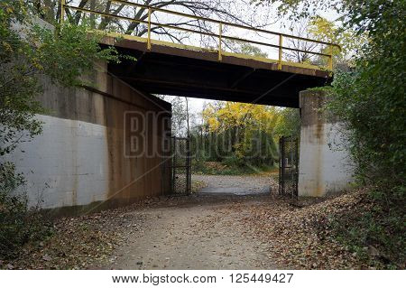 A footpath in the Lake Renwick Heron Rookery Nature Preserve, in Plainfield, Illinois, goes under a railroad bridge.