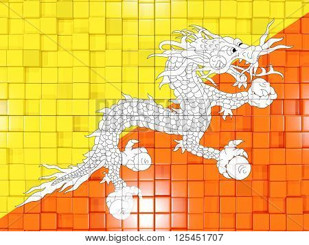 Background With Square Parts. Flag Of Bhutan. 3D Illustration