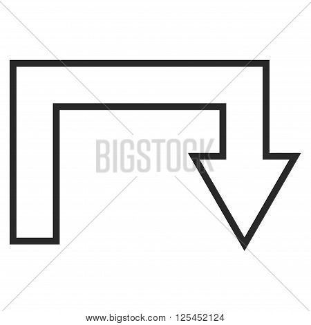 Turn Back vector icon. Style is contour icon symbol, gray color, white background.