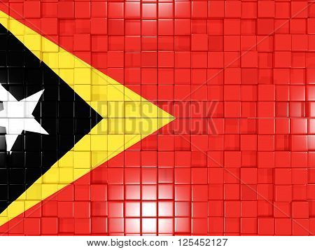 Background With Square Parts. Flag Of East Timor. 3D Illustration