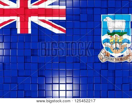 Background With Square Parts. Flag Of Falkland Islands. 3D Illustration