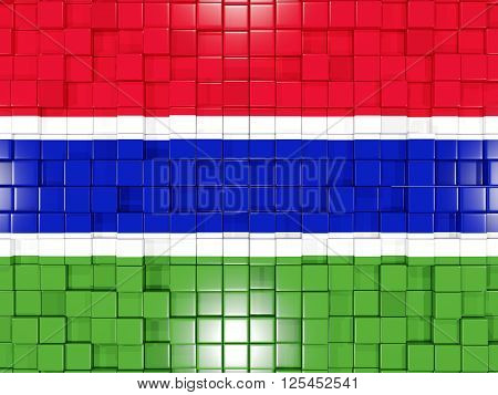 Background With Square Parts. Flag Of Gambia. 3D Illustration