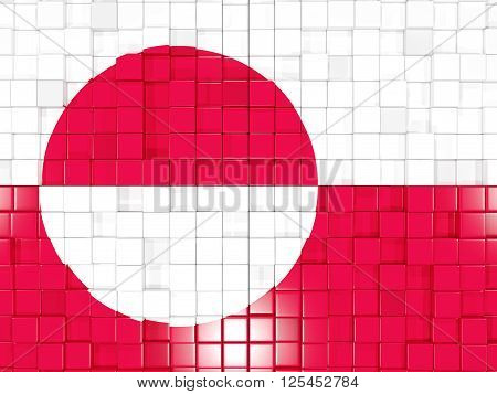 Background With Square Parts. Flag Of Greenland. 3D Illustration