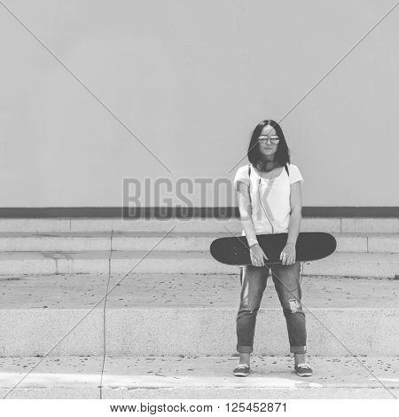 Funky Fresh Hipster Enjoyment Skateboarding Concept