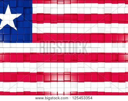 Background With Square Parts. Flag Of Liberia. 3D Illustration