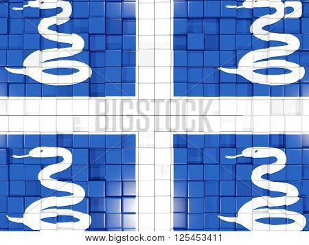 Background With Square Parts. Flag Of Martinique. 3D Illustration