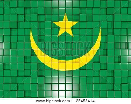 Background With Square Parts. Flag Of Mauritania. 3D Illustration