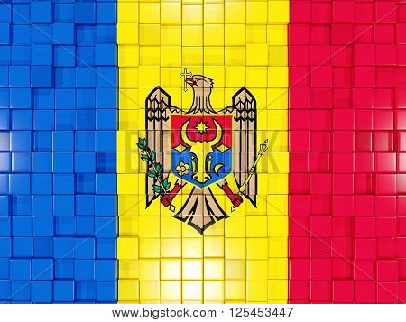 Background With Square Parts. Flag Of Moldova. 3D Illustration