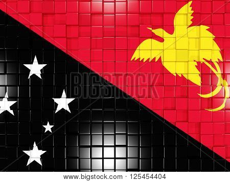 Background With Square Parts. Flag Of Papua New Guinea. 3D Illustration