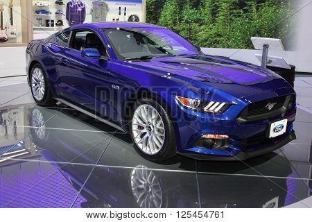 NEW YORK - MARCH 23: Ford Mustang GT premium coupe  shown at the 2016 New York International Auto Show during Press day,  public show is running from March 25th through April 3, 2016 in New York, NY.