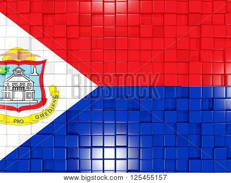 Background With Square Parts. Flag Of Sint Maarten. 3D Illustration