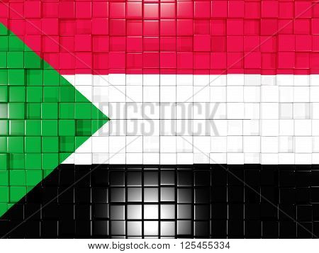 Background With Square Parts. Flag Of Sudan. 3D Illustration