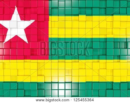 Background With Square Parts. Flag Of Togo. 3D Illustration