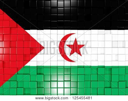 Background With Square Parts. Flag Of Western Sahara. 3D Illustration