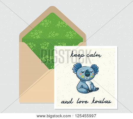 Enjoy the day. Open envelope and card with cute Australian Koala Bear. Printable Vector Template. Card and envelope design.