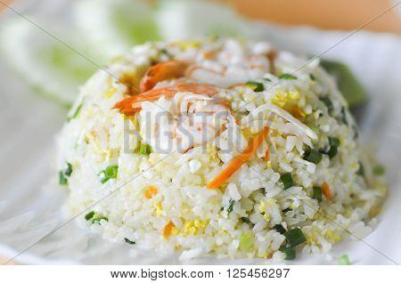 stir-fried rice with shrimp dish , fried rice
