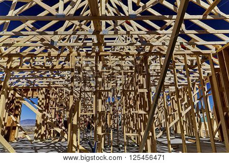Wood framework on new home construction site