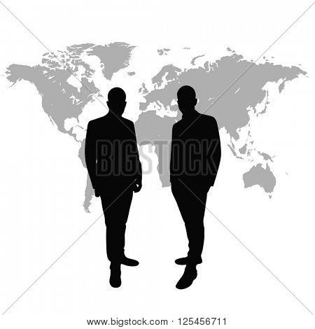 Managing directors as silhouette in front of world map