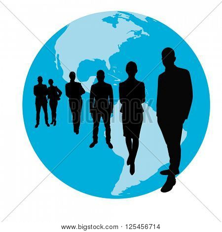 Business team group as silhouette in front of a globe