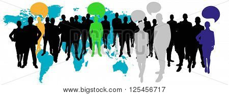 Business team with communication concept with speech bubbles in front of world map