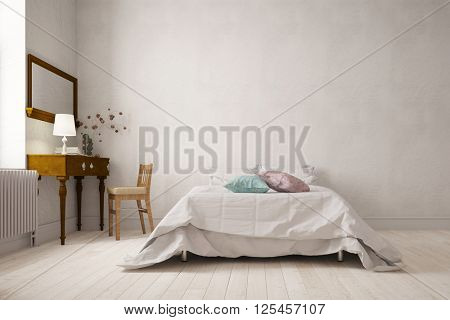 Elegant bedroom with double bed and desk on wall (3D Rendering)