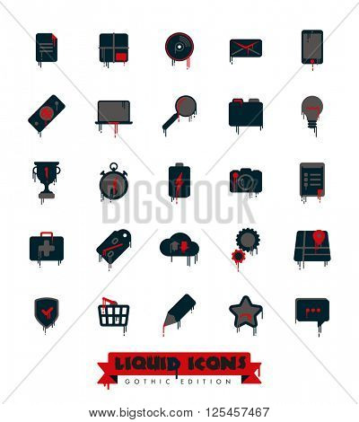 Liquid Icons Collection Gothic Edition. Set of liquid, blood dripping, melting web and business icons