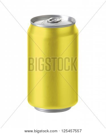 yellow aluminum can with blank copy space. ideal for beer lager alcohol soft drink soda lemonade cola energy drink juice tea lemon pineaple honey etc. Realistic photo image with clip path