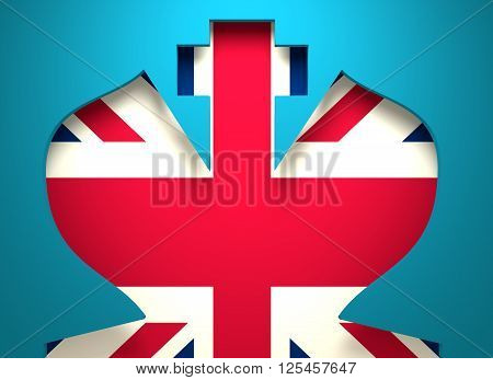 Chess king silhouette key hole and United Kingdom flag. 3D rendering