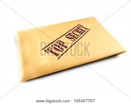 Yellow envelope with top secret files on white background