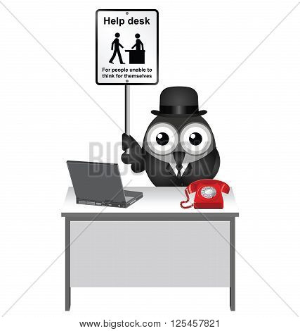 Comical Help Desk sign with bird helper sat at his desk