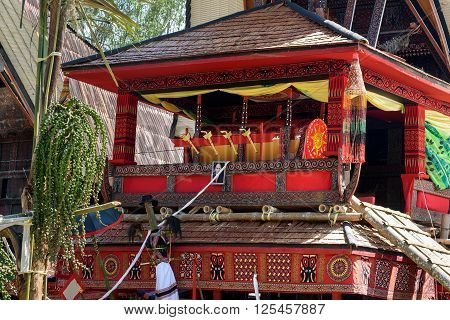 Traditional Coffin At Funeral Ceremony. Tana Toraja