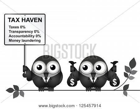 Bird businessman holding bags of money deposited in a tax haven paying no tax and shrouded in secrecy USA version isolated on white background