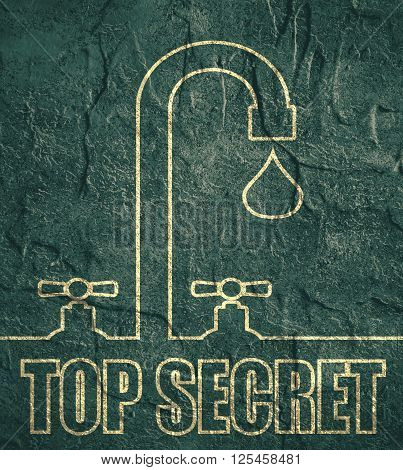 Leak text with drop from faucet. Typography concept. Top secret text
