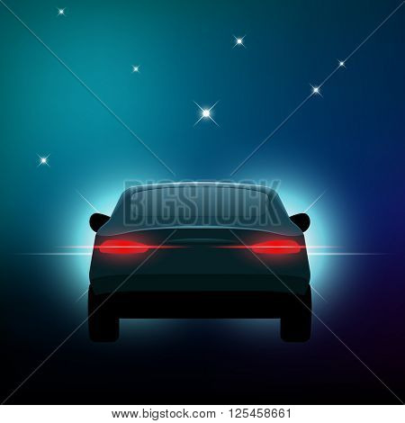 Rear of a car with lights and stars, eps10 vector