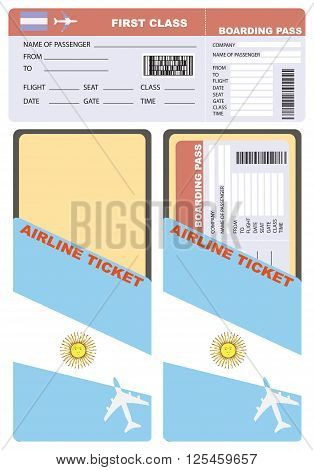 Flight of the first-class service with an envelope. Flight passenger flying to Argentina.