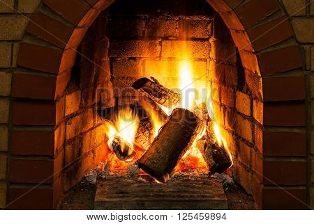Burning Billets In Fire-box Of Fireplace