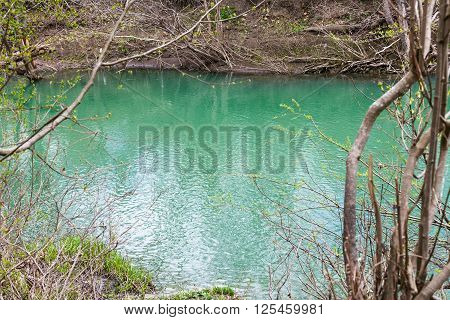 Green Water In Glacial River