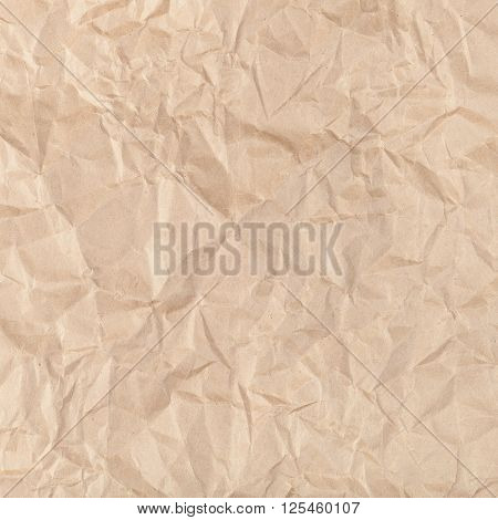 Square Background From Crumpled Kraft Paper