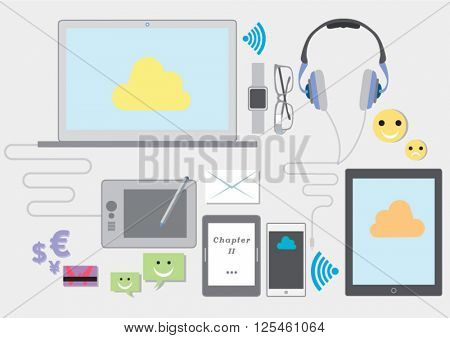 Vector Illustration Of Communication Technology Devices