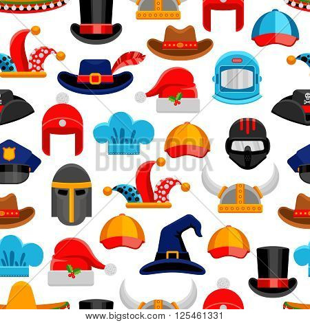Headwear seamless colorful pattern with different kinds of hats from various ages and styles vector illustration
