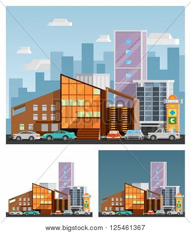 Shopping mall building  orthogonal compositions set with signboard flat isolated vector illustration