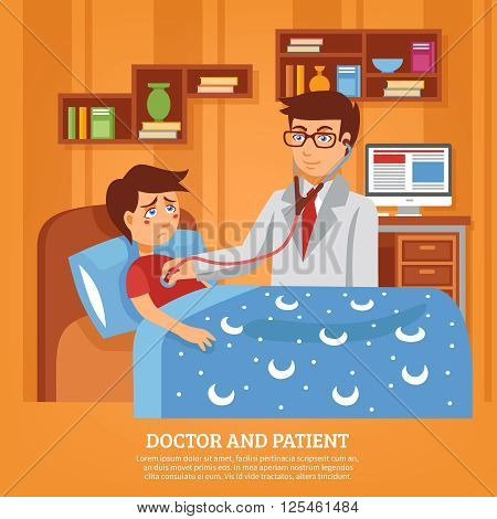 Doctor practitioner in white coat with stethoscope attending sick schoolboy at home poster flat abstract vector illustration