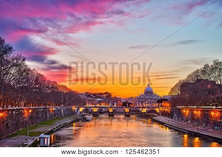 Night view of Tiber river in Rome, Italy