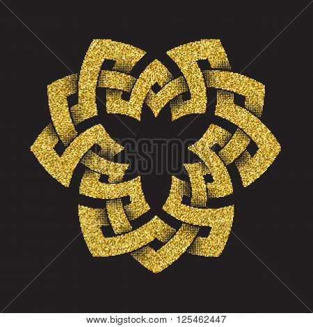 Golden glittering logo template in Celtic knots style on black background. Triangular symbol. Gold ornament for jewelry design.
